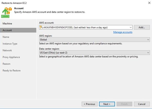 Veeam Direct Restore from AWS EC2 Backup & Replication