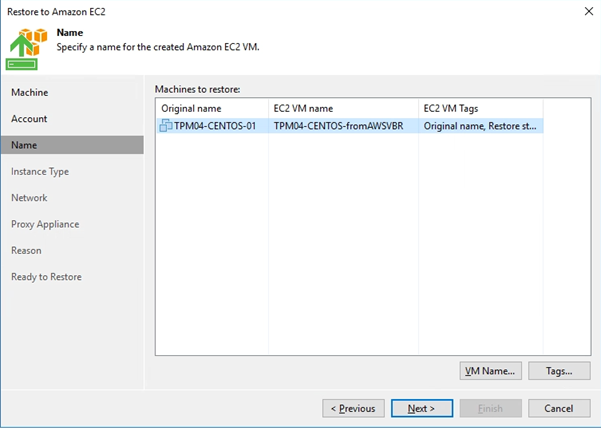 Veeam Direct Restore from AWS EC2 Backup & Replication